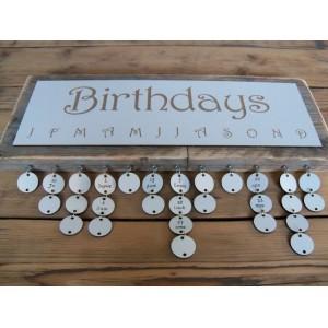 Verjaardagskalender steigerhout 'Birthdays' sierlijk