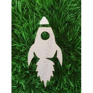Houten raket figuur