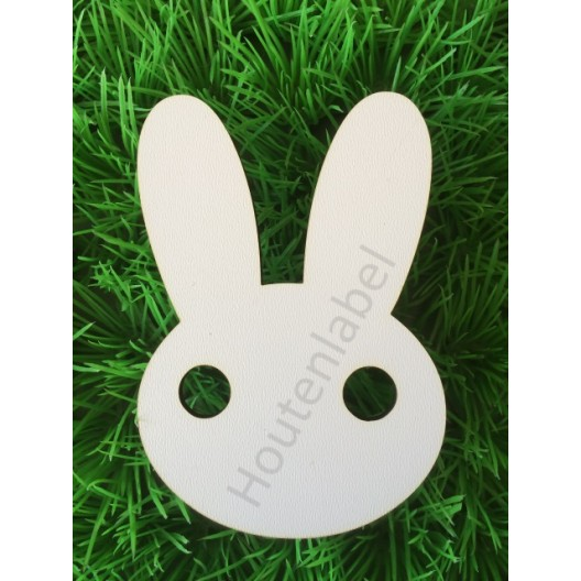 Houten konijnenhoofd figuur