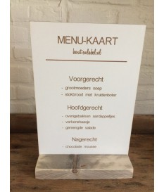 Menu bord , menukaart A4 op standaard.