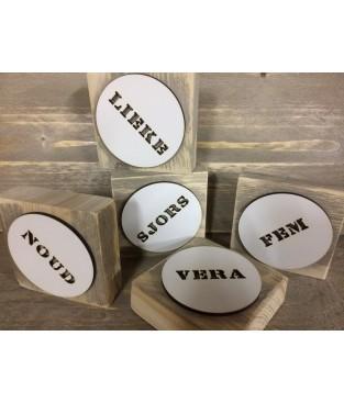 Steigerhouten plankje met naam -mal