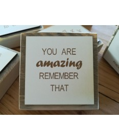 Leuk steigerhouten tekstbordje met de tekst  'You are amazing remember that'