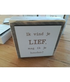 Steigerhouten tekstbordje met de tekst  'ík vind je lief, mag ik je houden?