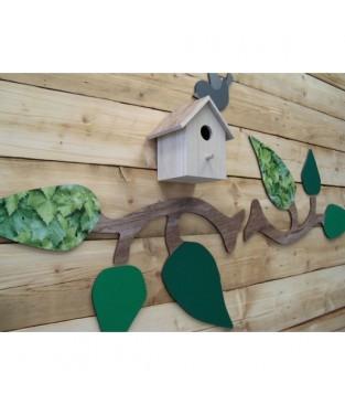 Boomtak/muurtak deco XL met vogelhuis en vogelfiguur, uni -folie op bladeren.