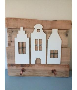 kapstokken van sloophout met grachtenhuisjes 2x