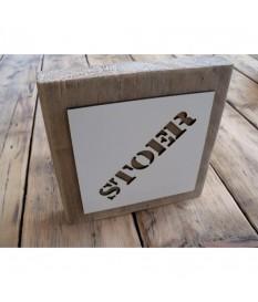Borden van steigerhout voorzien van naam-mal, 2 stuks